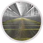 Round Beach Towel featuring the photograph Dfw Airport Walkway Perspective Color Splash Black And White by Shawn O'Brien