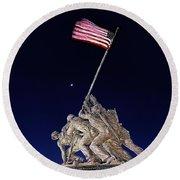 Digital Drawing - Iwo Jima Memorial At Dusk Round Beach Towel
