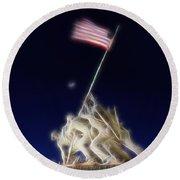 Digital Lightening - Iwo Jima Memorial Round Beach Towel