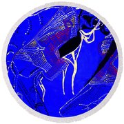 Round Beach Towel featuring the painting Dinka Marriage by Gloria Ssali