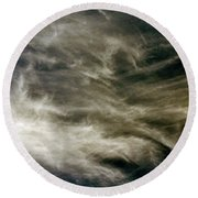 Round Beach Towel featuring the photograph Dirty Clouds by Clayton Bruster