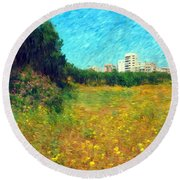 Round Beach Towel featuring the photograph Do-00479 Bois Des Pins - Impressionist by Digital Oil