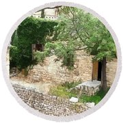 Round Beach Towel featuring the photograph Do-00486 Old House From Citadel by Digital Oil