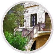 Round Beach Towel featuring the photograph Do-00490 Balcony Of Old House by Digital Oil