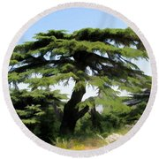 Do-00511 Cedar Forest Round Beach Towel