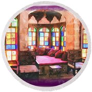 Round Beach Towel featuring the photograph Do-00520 Emir Bachir Palace Interior-violet Bkgd by Digital Oil