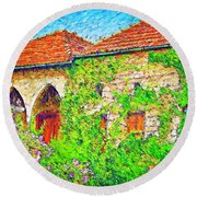 Round Beach Towel featuring the photograph Do-00530 Old House by Digital Oil