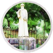Do-00541 St Charbel Statue Round Beach Towel