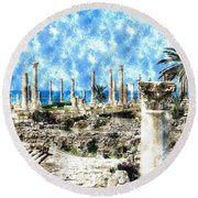 Round Beach Towel featuring the photograph Do-00549 Ruins And Columns - Town Of Tyr by Digital Oil