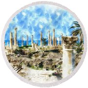 Do-00550 Ruins And Columns Round Beach Towel