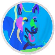 Dog - Colour Dog Round Beach Towel