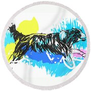 Dog Running In Water Round Beach Towel