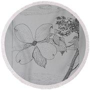 Dogwood  Round Beach Towel by Daniel Reed