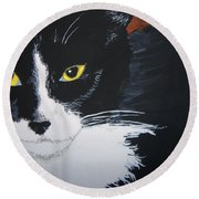 Round Beach Towel featuring the painting Don't Bug Me by Norm Starks