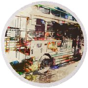 Round Beach Towel featuring the photograph Double Decker Bus by Phil Perkins