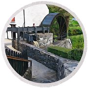 Round Beach Towel featuring the photograph Down To The Mill by Charlie and Norma Brock