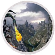 Dragon Valley Round Beach Towel by The Dragon Chronicles - Garry Wa