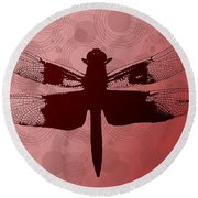 Round Beach Towel featuring the photograph Dragonfly by Lauren Radke