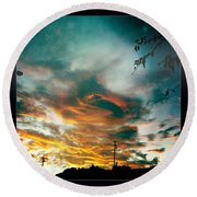 Round Beach Towel featuring the photograph Drama In The Sky by Nina Prommer