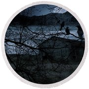 Dreadful Silence Round Beach Towel by Lourry Legarde