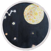 Round Beach Towel featuring the painting Dream by Sonali Gangane