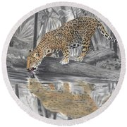 Drinking Jaguar Round Beach Towel