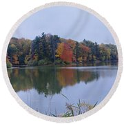 Round Beach Towel featuring the photograph Durand Lake by William Norton
