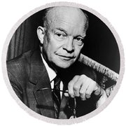 Round Beach Towel featuring the photograph Dwight D Eisenhower - President Of The United States Of America by International  Images
