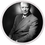Round Beach Towel featuring the photograph Dwight Eisenhower - President Of The United States Of America by International  Images