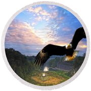 Round Beach Towel featuring the photograph Eagle At Paint Creek Dam by Randall Branham