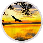 Round Beach Towel featuring the photograph Eagle At Sunset by Randall Branham