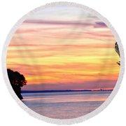 Round Beach Towel featuring the photograph Eagle Sunrise by Randall Branham
