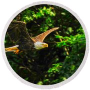 Round Beach Towel featuring the photograph Eagle Taking Lunch To Her Babies by Randall Branham