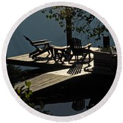 Early Morning At The Lake Round Beach Towel