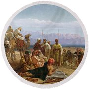 Early Morning In The Wilderness Of Shur Round Beach Towel by Frederick Goodall