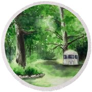 Round Beach Towel featuring the painting Early Summer At The Geddes Farm --ann Arbor Michigan by Yoshiko Mishina