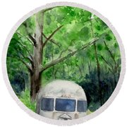 Round Beach Towel featuring the painting Early Summer At The Geddes Farm 1 --ann Arbor  Michigan by Yoshiko Mishina