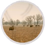 Round Beach Towel featuring the photograph Earlying Morning Hay Bails by James Steele