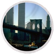 East River Tugboat Round Beach Towel