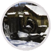 Eastern University Waterwheel Historic Place Round Beach Towel