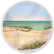 Round Beach Towel featuring the painting Easy Breezy by Patricia Piffath