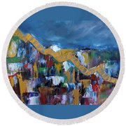 Round Beach Towel featuring the painting Economic Meltdown by Judith Rhue