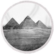 Egyptian Pyramids - C 1901 Round Beach Towel by International  Images