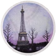 Eiffel At Night Round Beach Towel