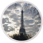 Round Beach Towel featuring the photograph Eiffel In The Morning by Eric Tressler