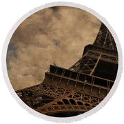 Eiffel Tower 2 Round Beach Towel by Mary Machare