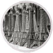 Eiffel Tower Miniature Round Beach Towel
