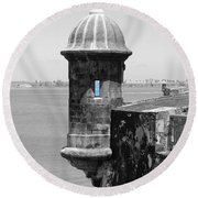 Round Beach Towel featuring the photograph El Morro Sentry Tower Color Splash Black And White San Juan Puerto Rico by Shawn O'Brien