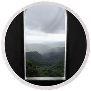 Round Beach Towel featuring the photograph El Yunque Cloudburst Color Splash Black And White by Shawn O'Brien