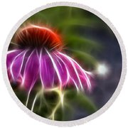 Round Beach Towel featuring the photograph Electrified Coneflower by Lynne Jenkins